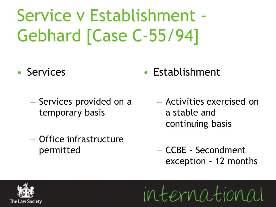 Service v Establishment - Gebhard [Case C-55/94]